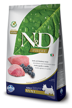 Load image into Gallery viewer, Farmina Prime N&D Natural & Delicious Grain Free Mini Adult Lamb & Blueberry Dry Dog Food
