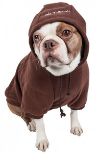 Pet Life Fashion Plush Cotton Hooded Brown Dog Sweater