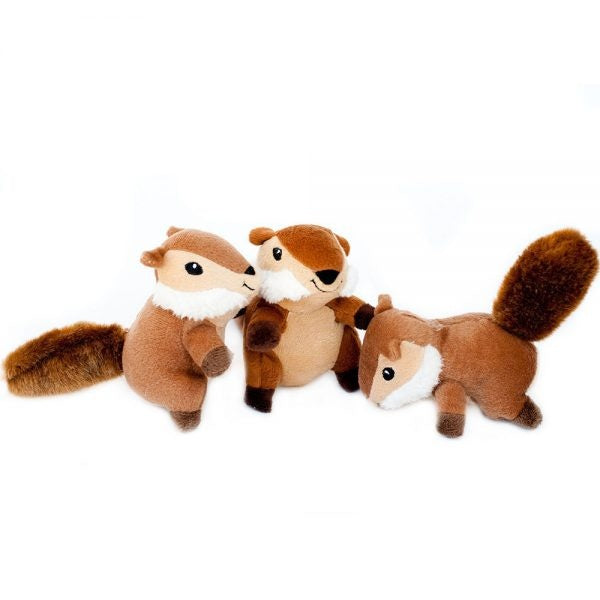 ZippyPaws Miniz Chipmunks 3-Pack Plush Dog Toys