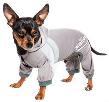 Load image into Gallery viewer, Pet Life Dog Helios Namastail Grey Full Bodied Performance Breathable Yoga Dog Hooded Tracksuit