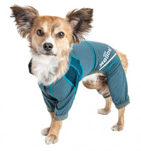 Load image into Gallery viewer, Pet Life Dog Helios Namastail Teal Full Bodied Performance Breathable Yoga Dog Hooded Tracksuit
