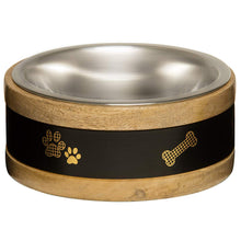 Load image into Gallery viewer, Loving Pets Black Label Wooden Ring Dog Bowl