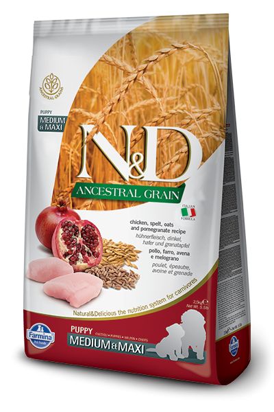 Farmina N&D Natural & Delicious Ancestral Grain Medium & Maxi Puppy Chicken & Pomegranate Dry Dog Food