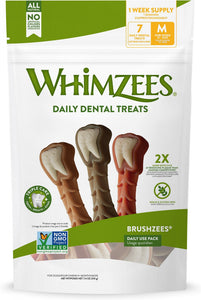 Whimzees Daily Use Brushzees Medium Pack Dental Dog Treats