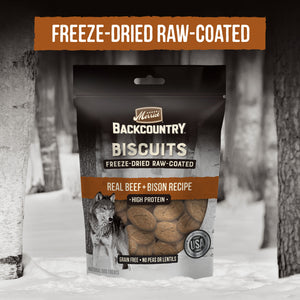 Merrick Backcountry Grain Free Beef & Bison Recipe Freeze Dried Raw Coated Biscuit Dog Treats