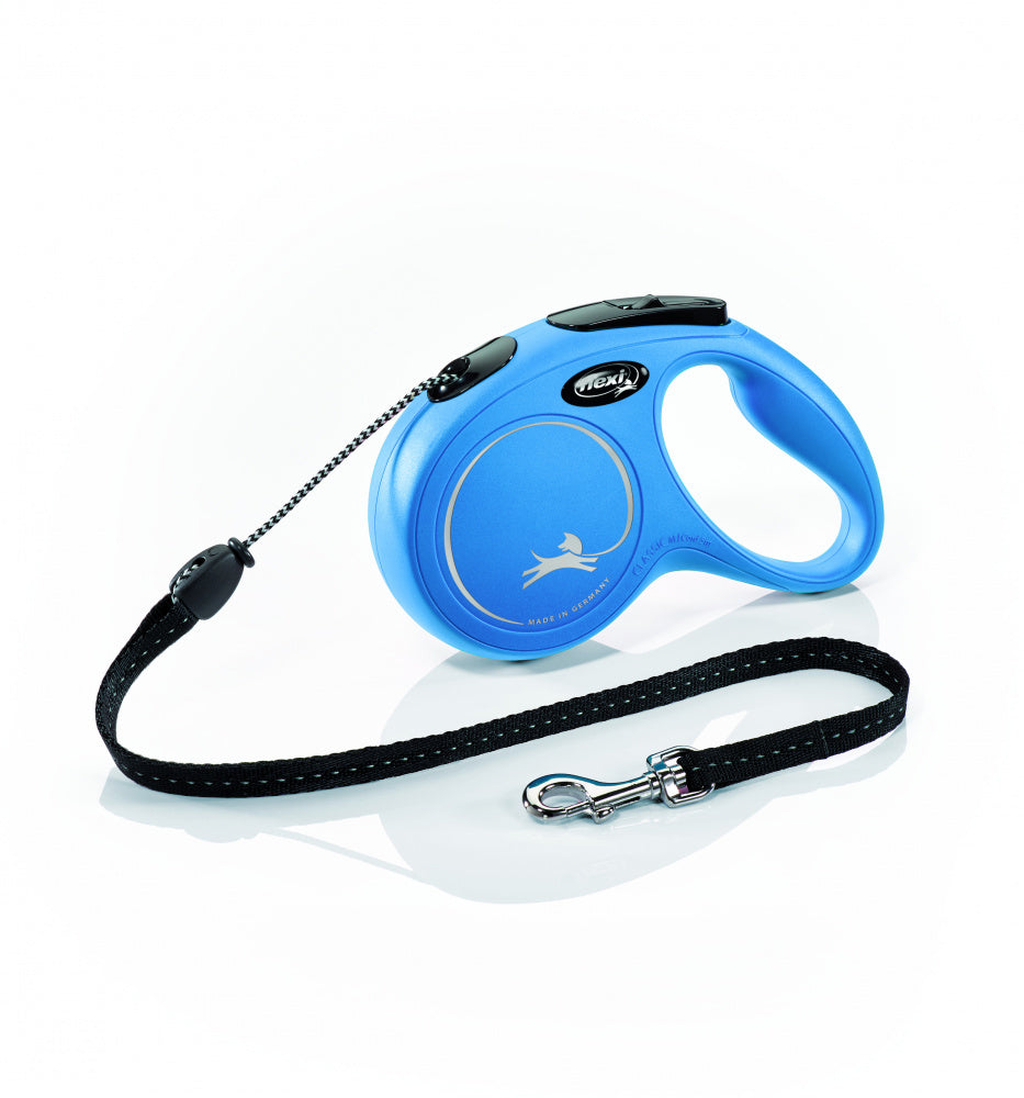 Flexi New Classic Cord Retractable Dog Leash, Blue