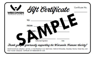 Gift Certificates For Wisconsin Humane Society
