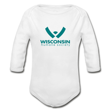 Load image into Gallery viewer, WHS Logo Organic Long Sleeve Baby Bodysuit - white