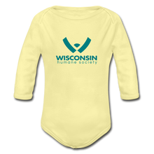 Load image into Gallery viewer, WHS Logo Organic Long Sleeve Baby Bodysuit - washed yellow