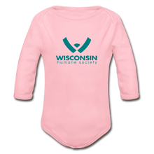 Load image into Gallery viewer, WHS Logo Organic Long Sleeve Baby Bodysuit - light pink