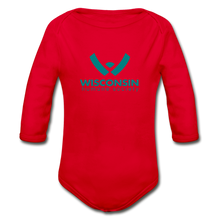 Load image into Gallery viewer, WHS Logo Organic Long Sleeve Baby Bodysuit - red
