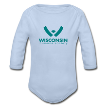 Load image into Gallery viewer, WHS Logo Organic Long Sleeve Baby Bodysuit - sky