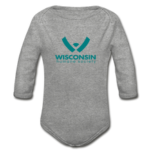 Load image into Gallery viewer, WHS Logo Organic Long Sleeve Baby Bodysuit - heather gray