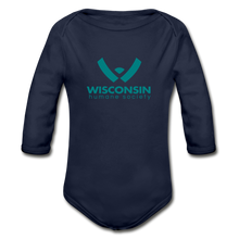 Load image into Gallery viewer, WHS Logo Organic Long Sleeve Baby Bodysuit - dark navy