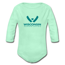 Load image into Gallery viewer, WHS Logo Organic Long Sleeve Baby Bodysuit - light mint