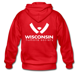 WHS Logo Heavy Blend Adult Zip Hoodie - red
