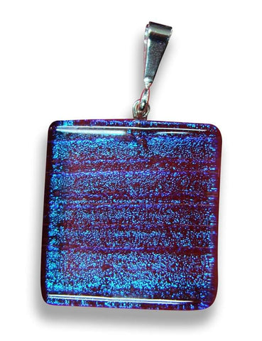 Blue Square Pendant with Red Sparkle