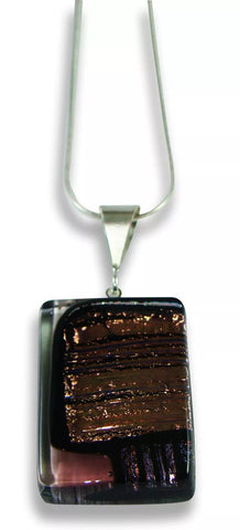 Brown and Gold Rectangular Pendant