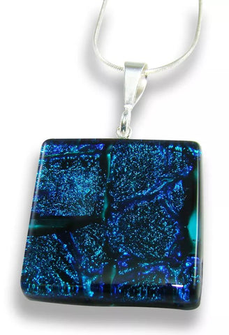 Blue and Turquoise Square Pendant
