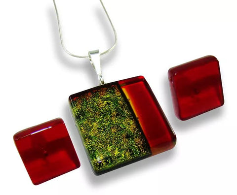 Litmus green and red square pendant