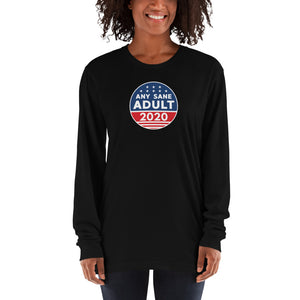 Unisex Any Sane Adult 2020 Logo Long sleeve t-shirt - Made in the USA - Any Sane Adult 2020