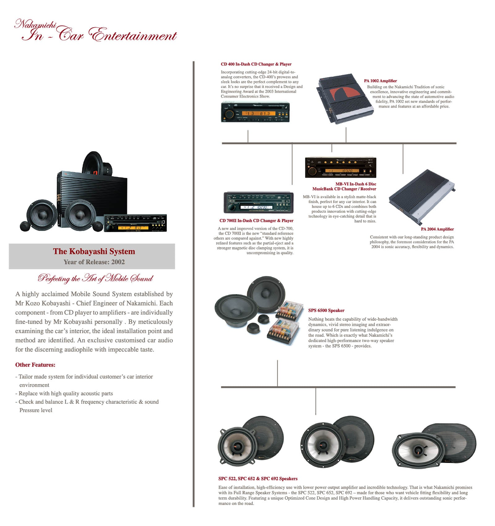 Nakamichi Car Audio Historical Products