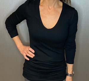 Long sleeve Ribbed tunic tee