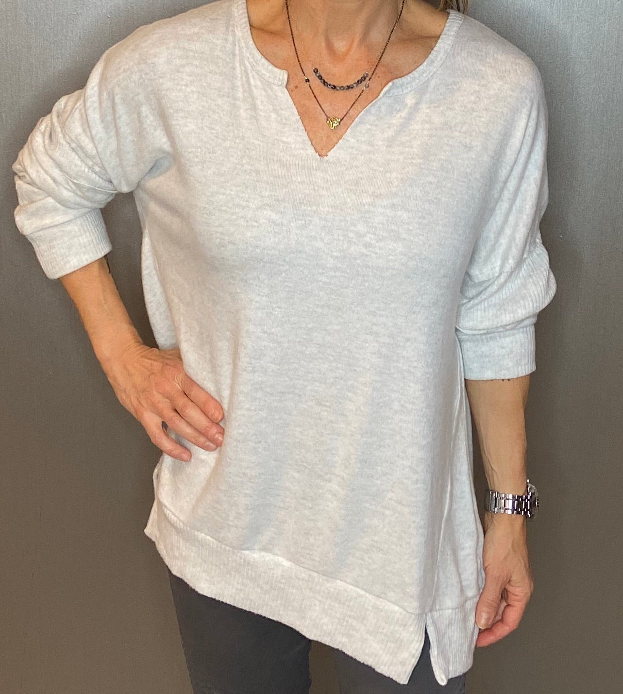 Brushed knit tunic