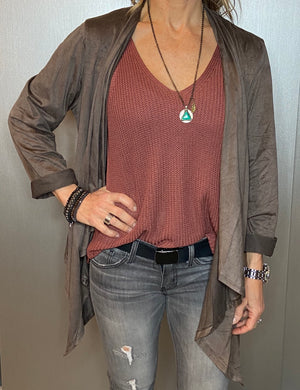Ultra suede draped cardigan