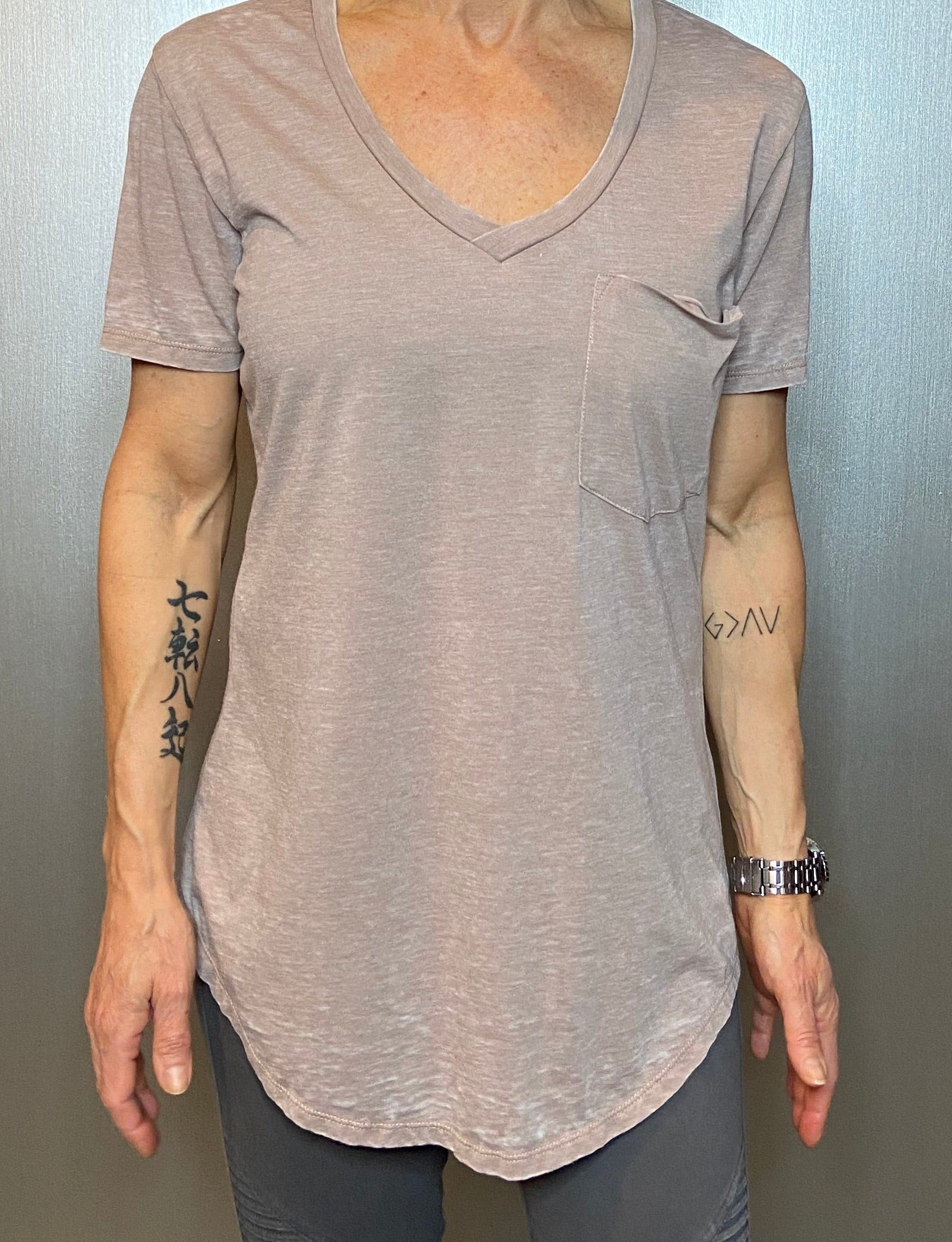 Raw edge scoop neck, burnout  tee