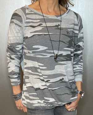 Camo long sleeve oversized tee