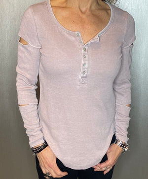 Henley ribbed top