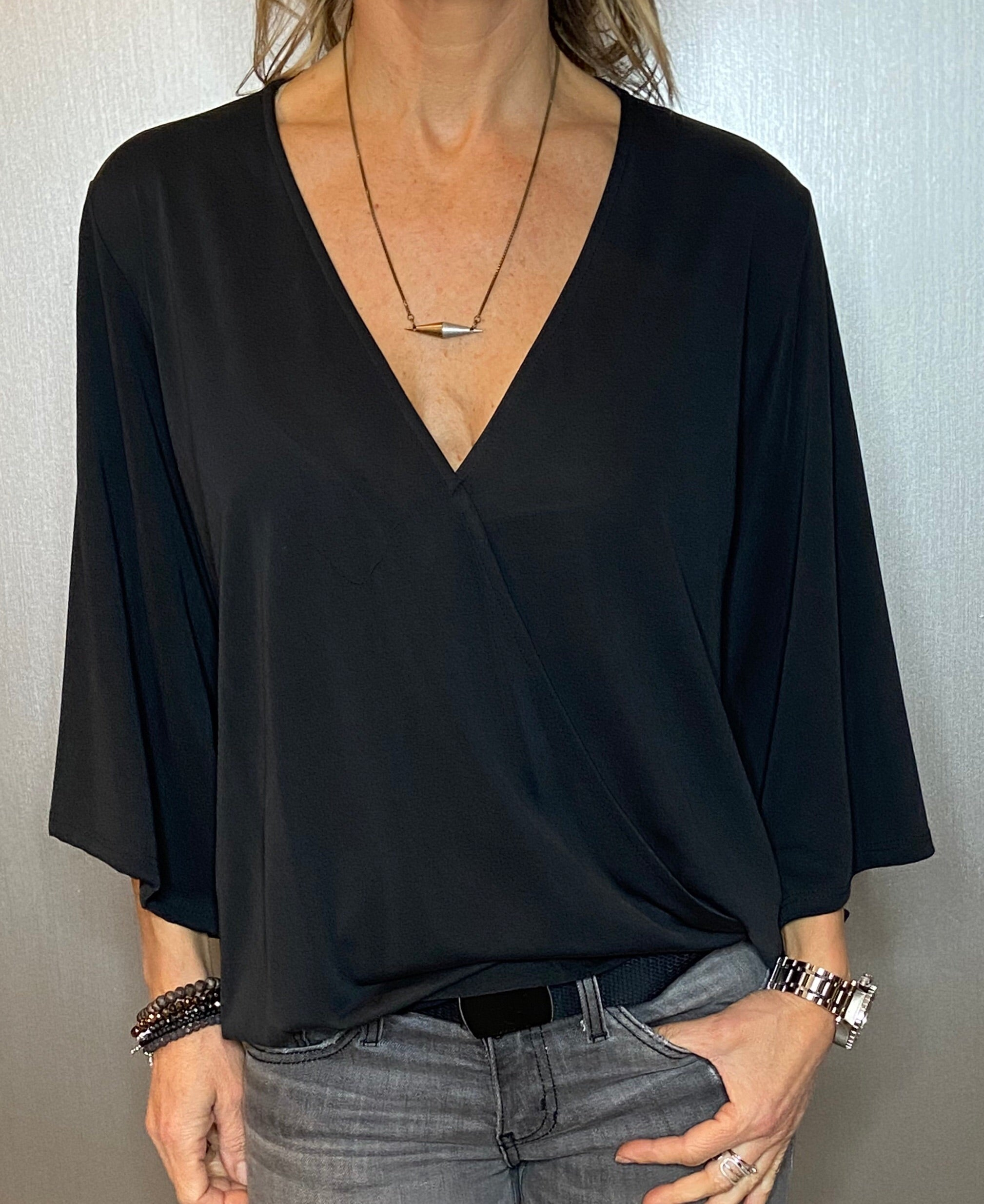 Draped front surplice blouse