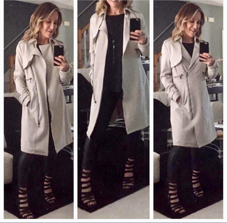 Ultra suede trench coat