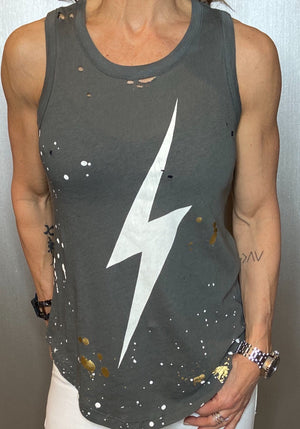 Lightning bolt graphic tank