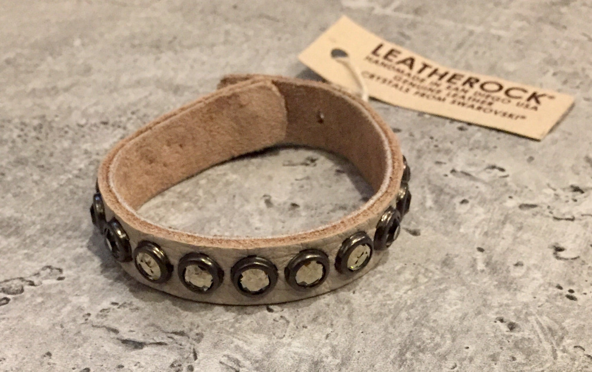 Leather wrap bracelet with crystals