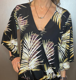 Palm print surplice blouse