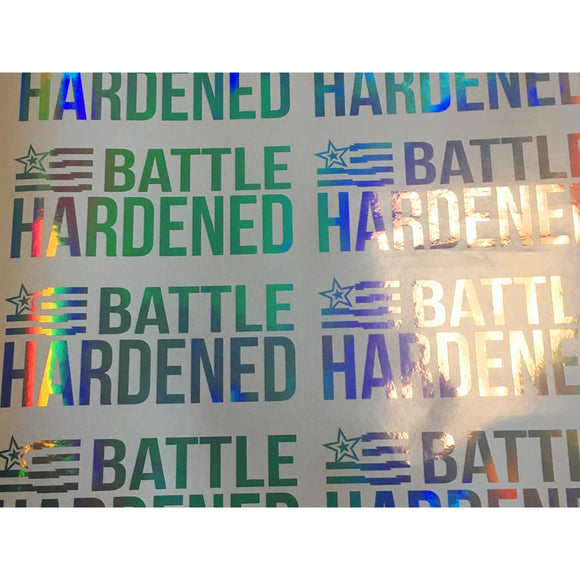Official Battle Hardened OIL SLICK Flag Decal Window Sticker