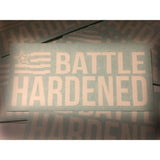 Official Battle Hardened WHITE Flag Decal Window Sticker