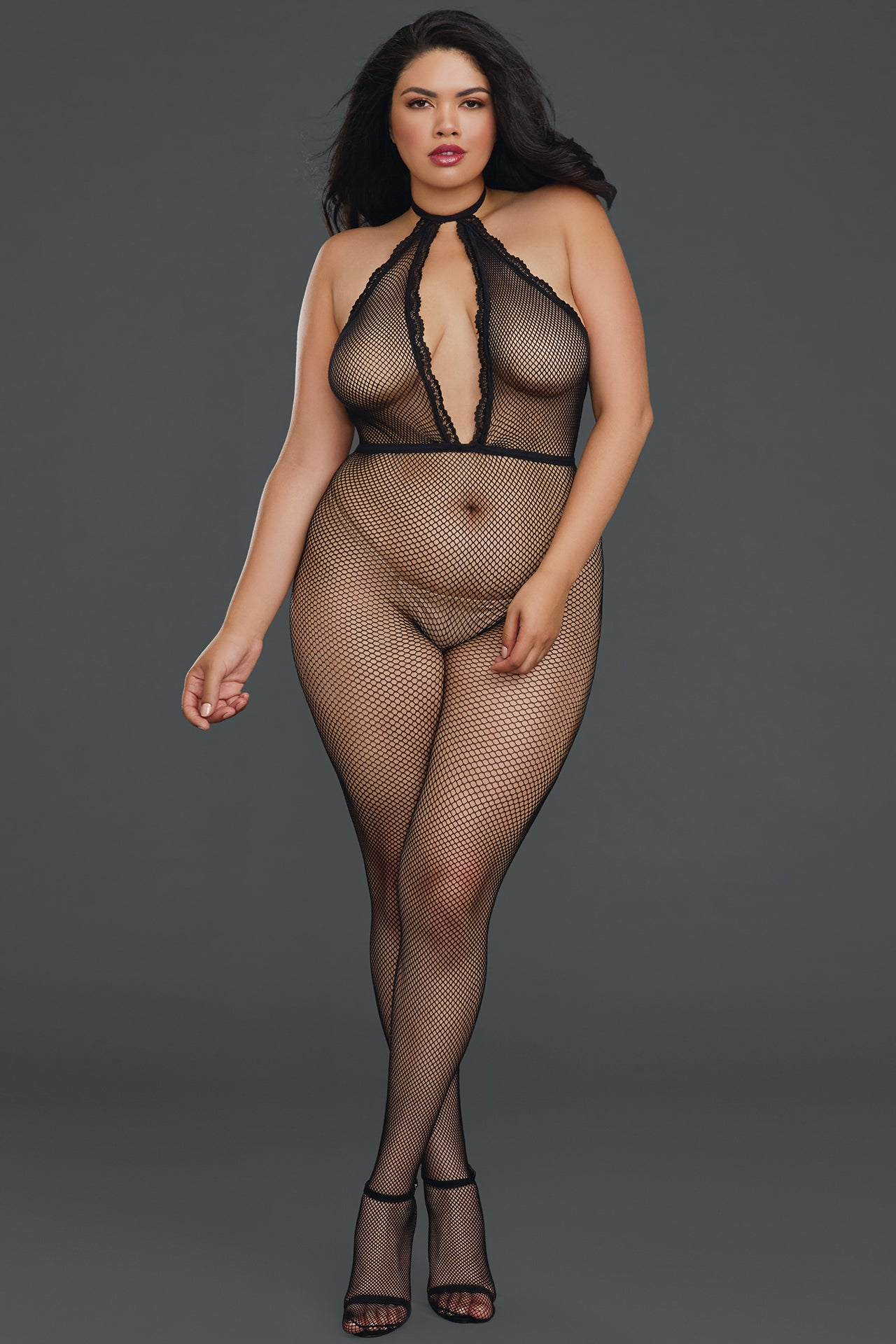 Plunging Fishnet Halter Bodystocking