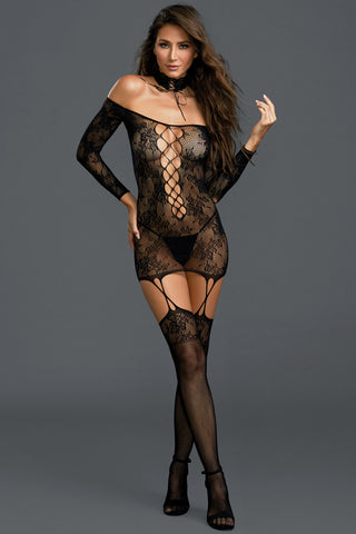 Reversible Lace Suspender Bodystocking