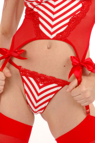 Peppermint Mitered Bow-Back Thong