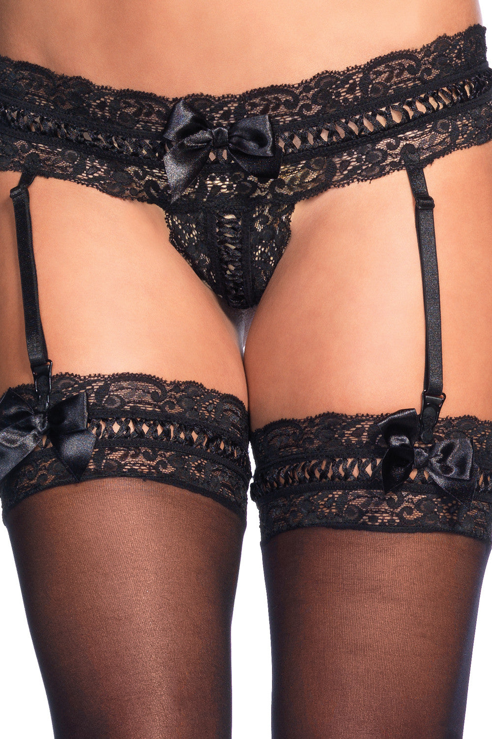 Ribbon Lace Garter G-String & Stockings