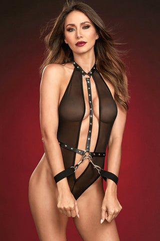Sheer Studded Restraint Teddy
