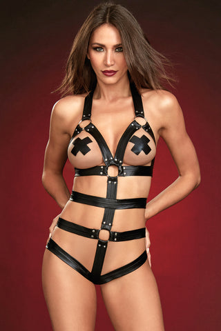 Strappy Studded Cage Teddy