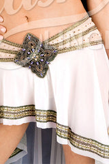 Gladiator Asymmetrical Skirt with Rhinestones
