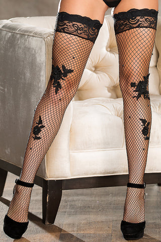 Lace Appliqué Diamond Net Stay-Up Stockings