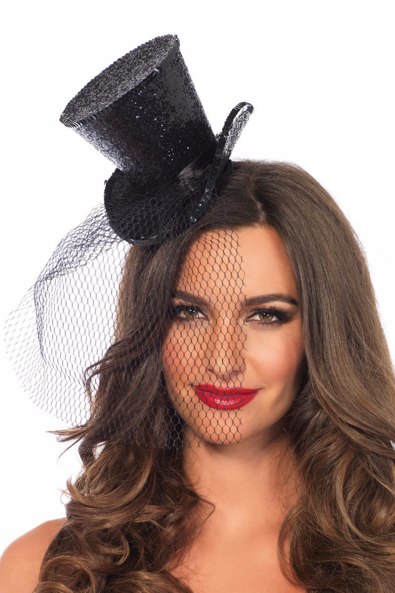Black Mini Glitter Top Hat with Veil