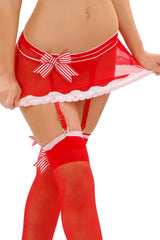 Sheer Peppermint Asymmetrical Garter Skirt