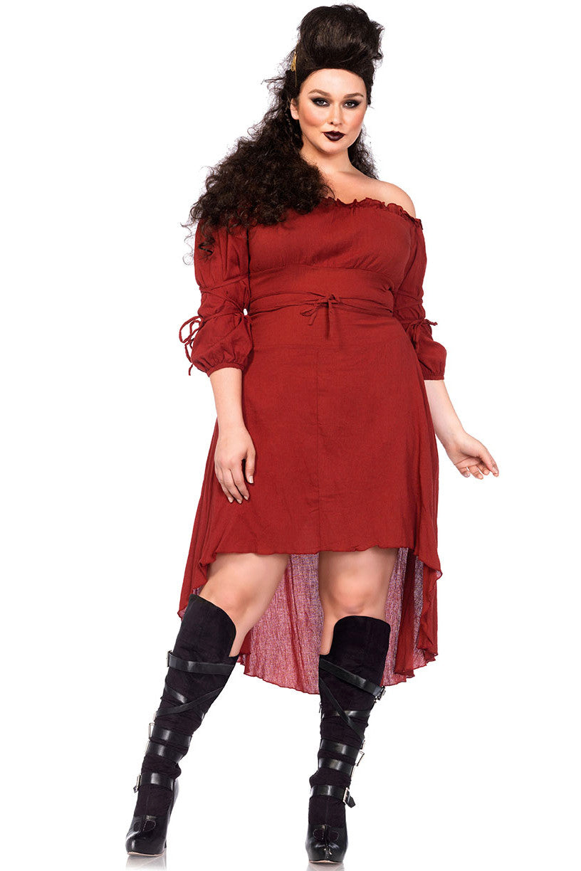 Rust Gauze Peasant Dress